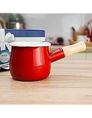 Cazo antiadherente pequeño para leche, té, café, hervir huevos, preparar la papilla del bebé, diseño esmaltado con mango de madera, fácil de limpiar, de Jmahm. rosso