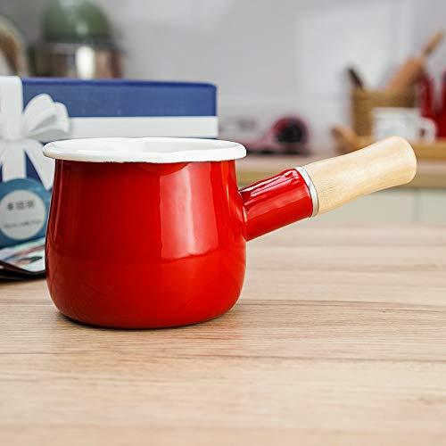 Jmahm - Pentolino antiaderente per latte, smaltato, con manico in legno, teiera, per caffè, uova