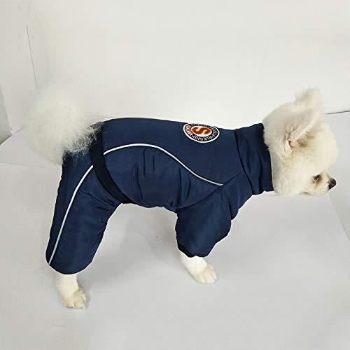 ZFFLYH Hond Jas Kleding Warm Huisdier Jas Puppy Herfst Winter Outfits Doggy Mode Jumpsuit Kleding, Blauw