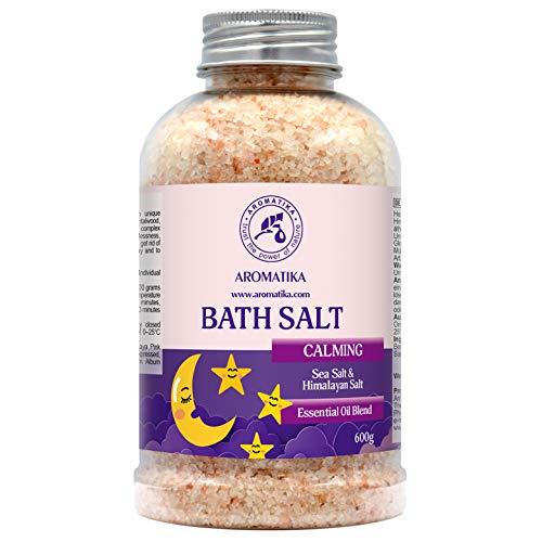 Sales de Baño Calmante 600g - con Aceite Esencial de Sándalo & Lavanda & Bergamota - 100% Sales Naturales Marinas - Relajante - Cuidado corporal - Cuidado Corporal - Aromaterapia