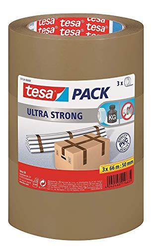 tesapack Ultra Strong - PVC-Klebeänder für festes Verpacken und sicheres Bündeln - Braun - 66 m x 50 mm, 3er-Pack