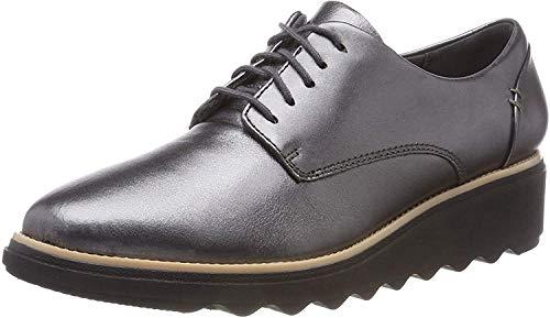 Clarks Sharon Noel, Zapatos de Cordones Derby Mujer, Plateado (Gun Metal Lea), 37.5 EU
