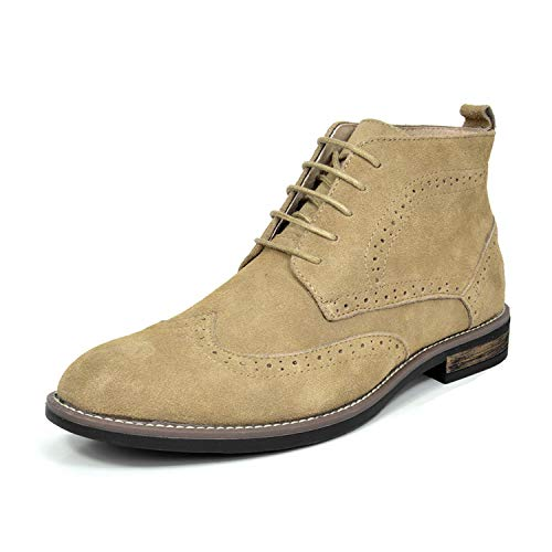 BRUNO MARC MODA ITALY URBAN-02 Men's Classic Lace Up Ankle High Original Suede Leather Perforated Wing Stripe Desert Wind boots SAND SIZE 11