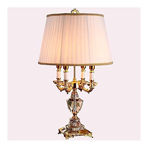 Panduo XYJ - Lámpara de mesa clásica de cristal europeo para dormitorio,...