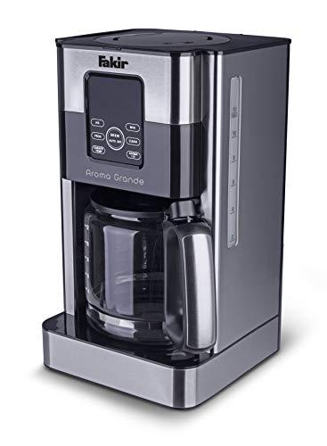 Fakir Aroma Grande / Kaffeemaschine, Filterkaffeemaschine mit Glaskanne, mit Touch-Display, Wasserstandsanzeige, bis zu 12 Tassen, Edelstahl silber - 1000 Watt