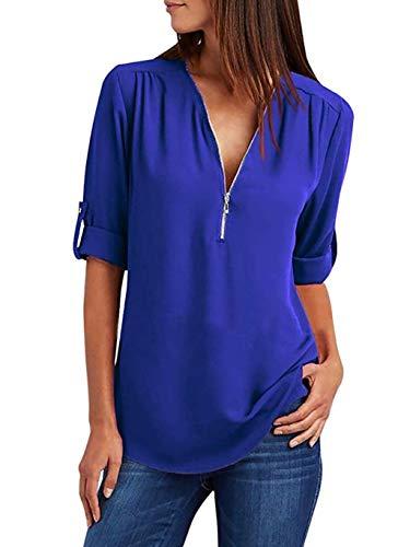 Damen Chiffon Blusen Elegante Reißverschluss Langarmshirts Bluse Tunika Oberteile T-Shirt V-Ausschnitt Tops Blau 3XL