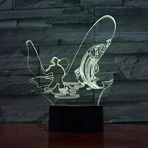 LPHMMD nachtlampje, sportvissen, 3D-lamp, werkt op batterijen, kleurrijk met afstandsbediening, led-nachtlampje, lampje, babybed, decoratief