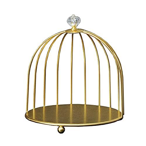 CROWNXZQ Poder Cosmetic Rack Bird Cage, Organizador de Maquillaje Soporte Almacenamiento Alambre Individual/Doble Nivel Alambre, para Skincare Tabletop Jewelry Collar Pendiente Pantalla Bandeja