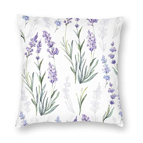 Beautiful Purple Lavender Flower Pillowcase Soft and Beautiful Home Decoration Romantic Love Floral Pillow Cover 18X18 inch Living Room Garden