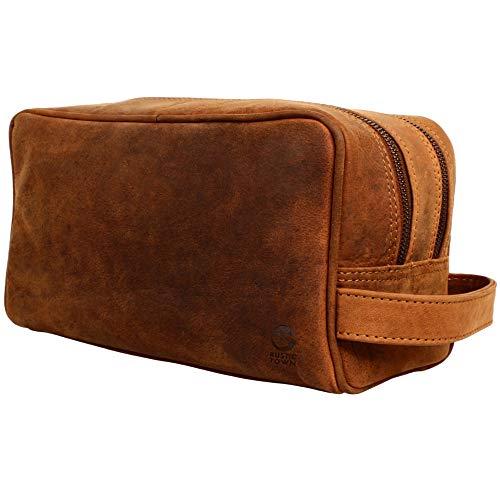 Rustic Town kulturtasche kulturbeutel Leder | Leather Toiletry Bag wash Bag | Leder Kosmetiktasche Waschtasche Reise-Tasche für Herren und Damen (Braun)