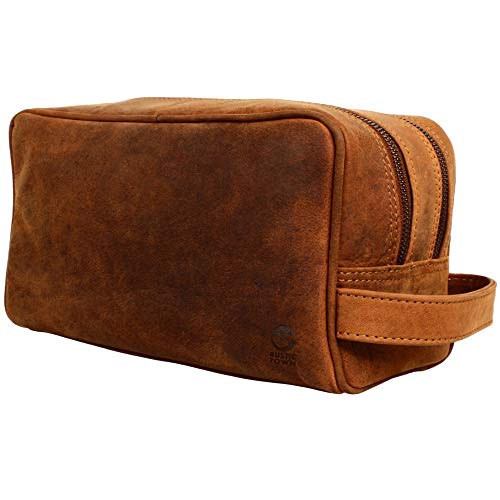 Rustic Town kulturtasche kulturbeutel Leder | Leather Toiletry Bag wash Bag | Leder Kosmetiktasche Waschtasche Reise-Tasche für Herren und Damen (Braun)