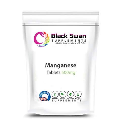 Black Swan Manganese 500mg Tablets – with Anti-inflammatory and antioxidant Properties – Healthy Bone Health – PMS – Healthy Weight Loss (60 Tabs)