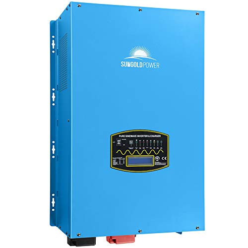SUNGOLDPOWER 12000W Peak 36000W Split Phase Pure Sine Wave Power Inverter,Low Frequency Inverter DC 48V AC Input 240V AC Output 120V 240V Converter, with 60A MPPT Solar Charger Controller 12KW