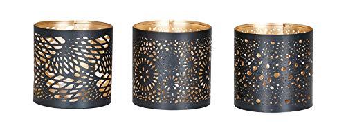 levandeo 3er Set Windlicht 10x10cm Metall Schwarz Gold Teelichthalter Kerzen Deko Industrial Kerzenhalter