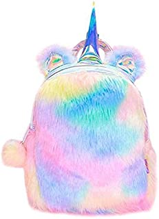 JUST STAR Fluffy Unicorn Backpack, Cute Plush Unicorn Backpack,Fluffy Mini Unicorn Backpack Bags for Girls Kids Travel Plu...