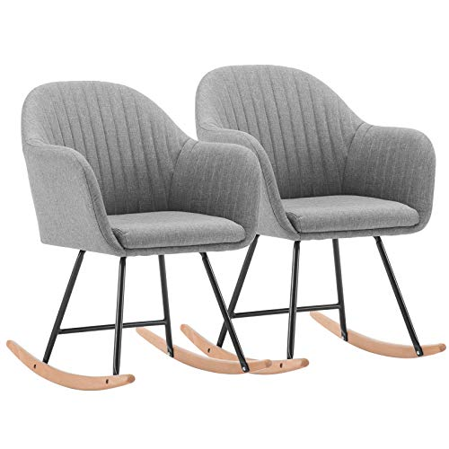 WOLTU Rocker Relax Rocking Chair Set of 2 Light Grey Lounge Chair Recliner Relaxing Chair with Soft Cushion