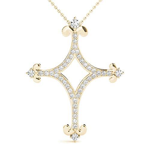 Yellow 14KT 0.35 CT Fancy Design Diamond Cross Pendant Necklace Amcor Design (0.35 Ct Fancy Diamond)