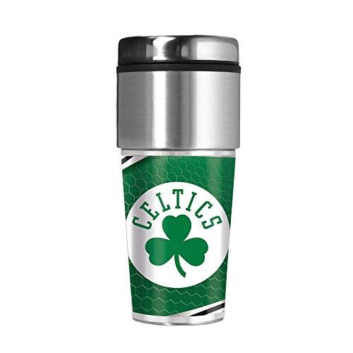 Great American Products Celtics 16 oz Travel Tumbler with Metallic Honeycomb Design Wrap