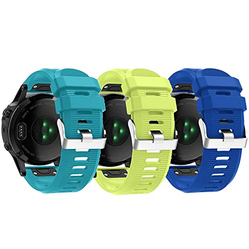 Compatible with Garmin Fenix 6X Pro Watch Bands for Women Men Fenix 5X Plus Band 26mm Easy Fit Silicone Replacement Bands Straps Wristbands Bracelet for Fenix 3 HR Blue Navy Green