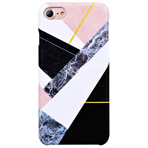 GrandEver Cover iPhone 8, Custodia Disegno di Marmo Marble Texture Hard Plastica PC Case Bumper Custodia Protettiva Cover per iPhone 8 - Modello 3