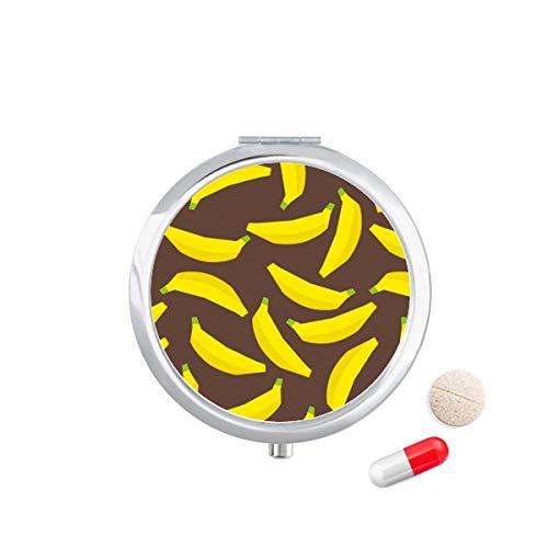 DIYthinker Geel Banaan Fruit Illustratie Patroon Reizen Pocket Pill Case Medicine Drug Opbergdoos Dispenser Spiegel Gift