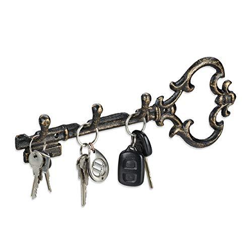Relaxdays Schlüsselbrett, 3 Haken, dekorative Schlüsselform, Gusseisen, Vintage, HBT 12,5 x 33 x 4,5 cm, schwarz-Gold 10032085_490, Bronze, 1 stück