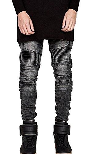 OLRIK Mens Skinny Runway Distressed Slim Denim Biker Jeans Hipster Pants Grey US28, Tag29