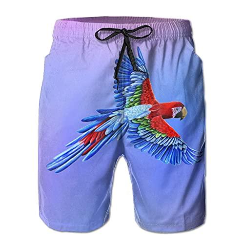 GOSMAO Bañadores para Hombre Macaw Parrot Bird Bañador para Hombre Pantalones de Playa Impermeables de Secado rápido Pantalones Cortos de Playa