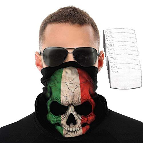 Lily-Shop Italienische Flagge Schädel Wiederverwendbare Bandana Gesicht Staubfilter Maske Stirnband Kopf Wickelkappe Kleidung Kleid