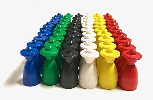 Spielfiguren für Brettspiele: Männchen mit Hut, Halmakegel aus Holz, Größe 13/26 mm (6 x 10, Basisfarben)