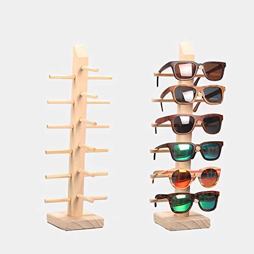 Z.N.Z Sonnenbrillenständer aus Holz, Schmuckständer, Brillenhalter, Schmuckständer, Schmuckständer, Holzregal (einreihig, 6 Paar)