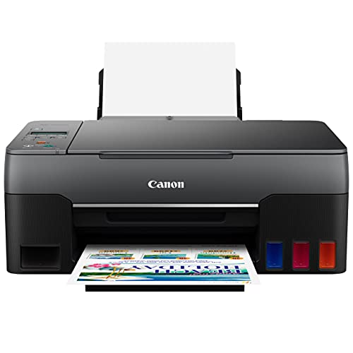Canon PIXMA G Series MegaTank All-in-One Wired Color Inkjet Printer - Print Copy Scan for Home Office - 10.8 ppm, 4800 x 1200 dpi, 2-line LCD, Borderless Printing, High-Volume Supertank, Hi-Speed USB
