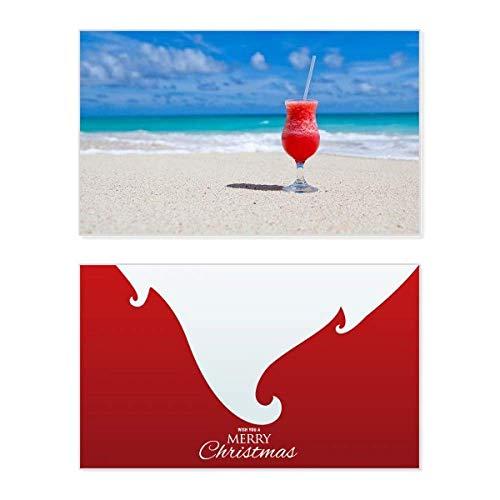 Ocean Sand Beach Watermeloen Sap Foto Vakantie Vrolijke Kerstkaart Kerstmis Kerstmis Vintage Bericht