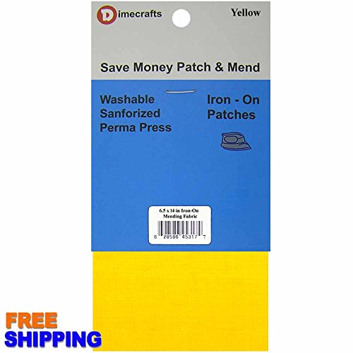 Iron-On 1 Patch Yellow Mending Fabric 6.5 x 14 Inch, Compare to Bondex