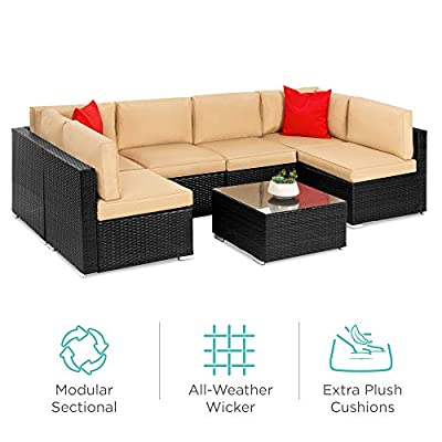 Best Choice Products 7-Piece Modular Outdoor Conversational Furniture Set, Wicker Sectional Sofas w/Cover - Black/Tan