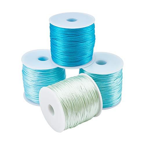 PandaHall Cordón de nailon con ribete de seda satinada, 4 colores, 320 yardas, 1 mm, para nudos chinos, Kumihimo, abalorios, macramé, fabricación de joyas,