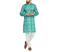 Sojanya (Since 1958) Mens Cotton Multi DIGITAL Print Kurta & Off-White Churidar Pyjama Set