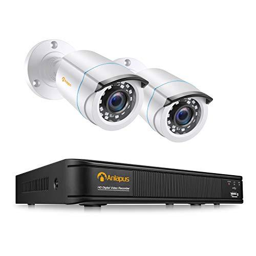 Anlapus 1080P Kit Vidéo Surveillance 4CH 1080P DVR avec 2 Caméras de Surveillance Extérieure 2MP IP66 24m Vision Nocturne Détection de Mouvement & App Gratuite sans Disque Dur Inclus
