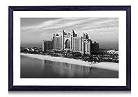 アトランティス、パーム -世界 -#14534 - 白黒の絵画 装飾画 壁飾り アートパネル インテリアアート 木製の枠 壁ポスター モダン 現代壁の絵 額縁付きの完成品 横 35×50cm