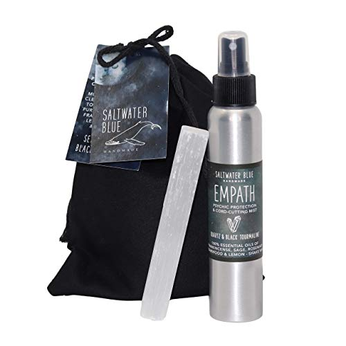 Empath Shielding - Protective Smudge Kit - Witchy Gifts - Sage, Frankincense, Rosemary, Lemon & Cedarwood Essential Oil Spray (4 ounces) - Witchcraft Supplies - Selenite Cord Cutting Wand
