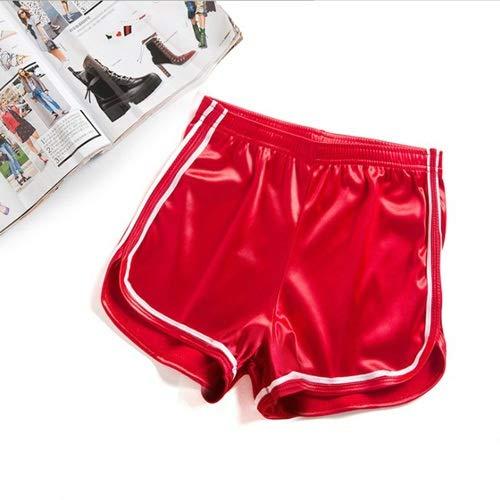 XXYHYQHJD Short de Yoga Satin Lisse Shorts de Sport Femme Taille Haute Fitness Course Yoga Shorts européen et américain de Style Sport (Color : Rouge, Size : L)