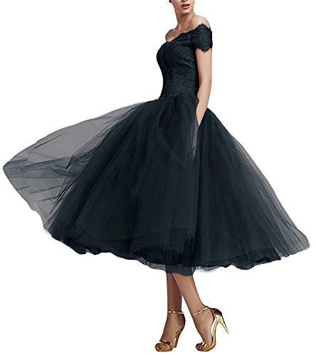 Beyonddress Damen Abendkleider Teelänge Elegant Cocktailkleid Spitze Ballkleider(Navy Blau,44)