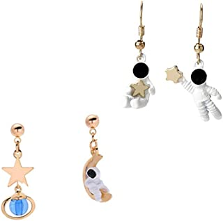 XCFS 2PCS One Set Blue Universe Tassel Space Man Earring 18K Gold Plated irregular astronaut spaceman Dangle Earrings