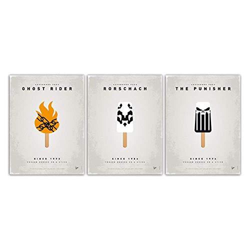 nr Cartel de Paleta de Dibujos Animados de Estilo nórdico Impresionismo Moderno Impresión de Arte Cuadro de Pared Polo de Hielo Pintura de Lona Decoración de Restaurante -50x70cm Sin Marco