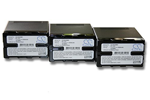 Set x 3 baterías vhbw 5200mAh para videocámara Sony PMW-EX1, PMW-EX3, PMW-F3,...