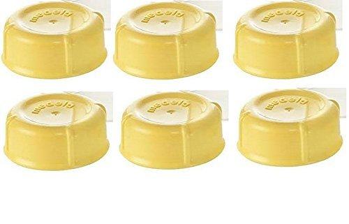 (6) Medela Solid Lids - Yellow/ solid cap/ bottle lid/ bottle solid cap - for Medela Bottles