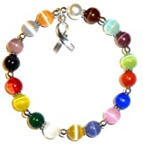 Hidden Hollow Beads Cancer Awareness Bracelet.925 Sterling Silver, Great for Fundraising, Strong Stretchy Cord Fits All, 8mm (Multi Cancer Awareness .925 Sterling Silver)