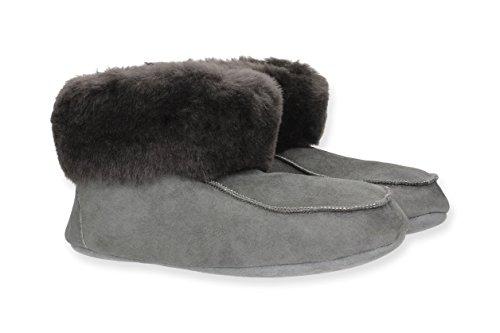 Yeti & Sons Handgefertigte, luxuriöse Herren-Hausschuhe aus Schaffell mit weicher Sohle., Grau - graphit - Größe: 41 EU