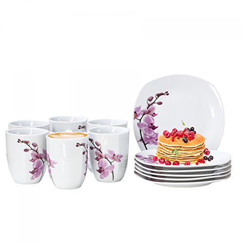 Van Well 12tlg. Frühstücksservice Kyoto für 6 Personen, 6 Kaffeebecher + 6 kleine Teller, Porzellan-Geschirr, Blumen-Dekor Orchidee, rosa-rot, pink