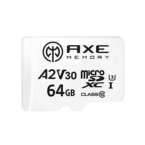 AXE 64 GB MicroSDXC Speicherkarte + SD-Adapter mit A2 App Performance, V30 UHS-I U3 4K Ultra HD Klasse 10 - AXS2A64